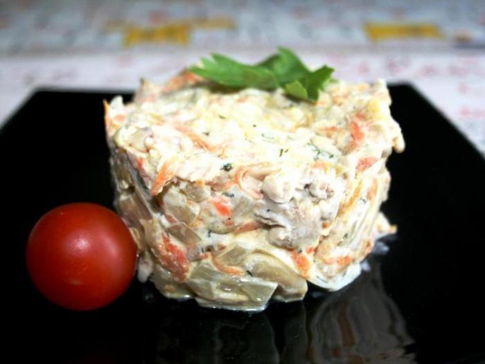 салат курица грибы ананасы рецепт фото