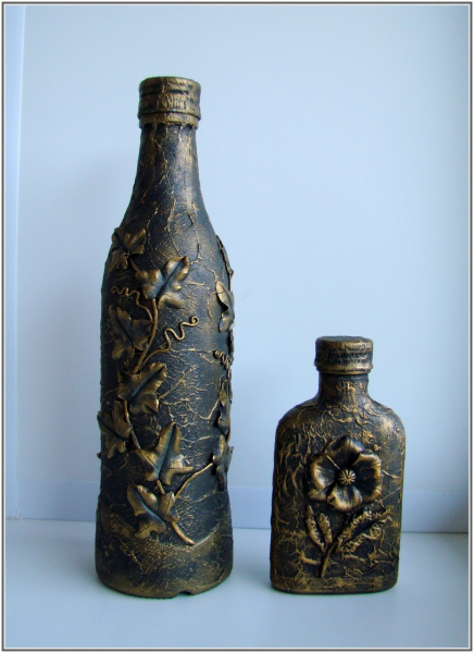 Декупаж бутылок своими руками под старину 54