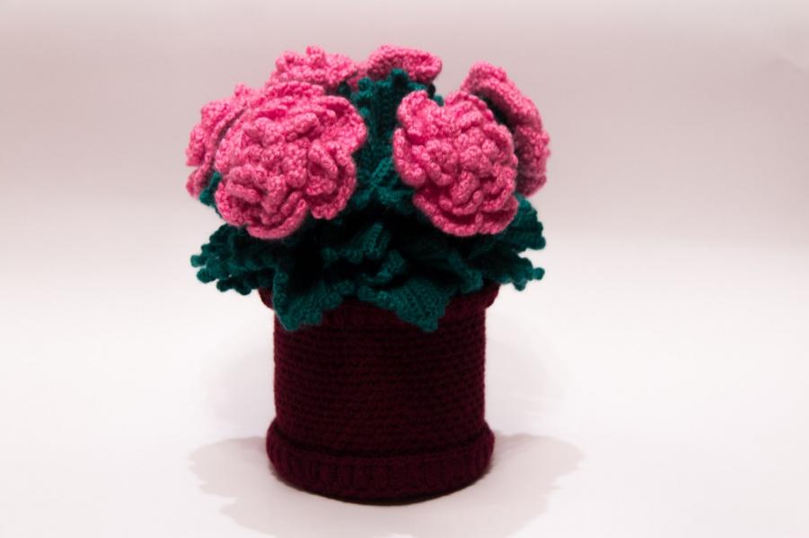 Вязание крючком цветок в горшочке 75