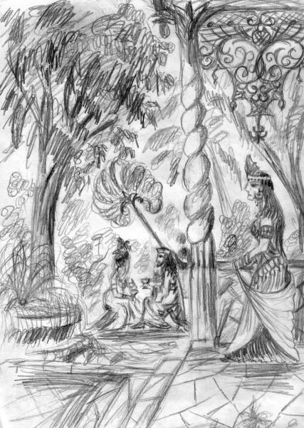 Жена Соломона на веранде дворца