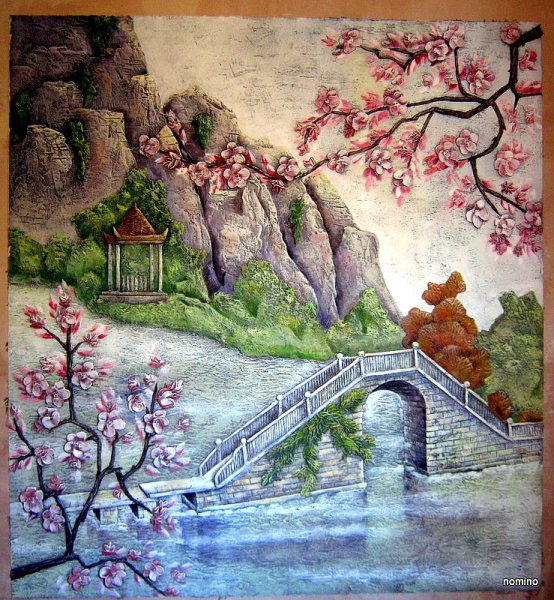 Сакура. Фреска (барельеф,роспись). Частный интерьер.