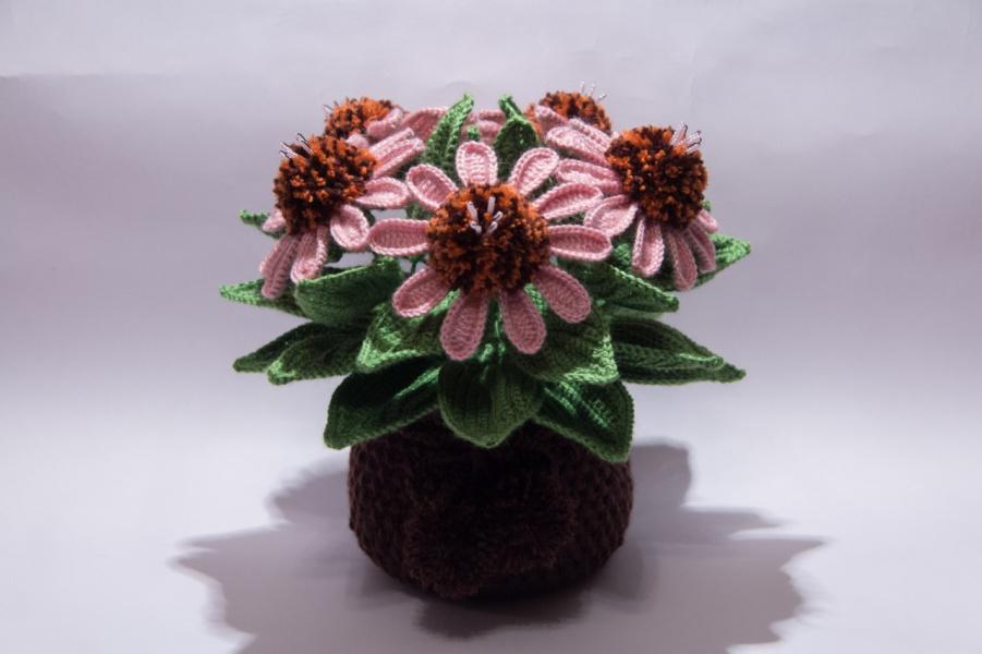 Вязание крючком цветок в горшочке 99