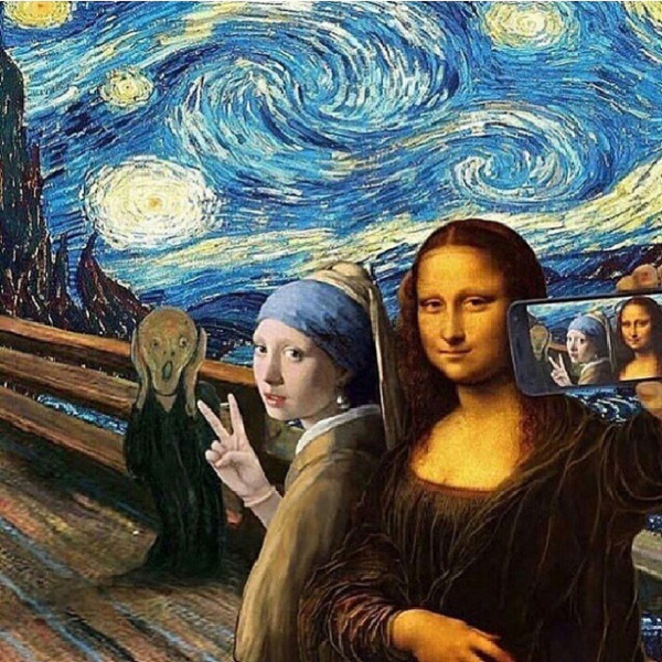 Olivia Muus Mona Lisa and The Girl with the Pearl Earring Selfie