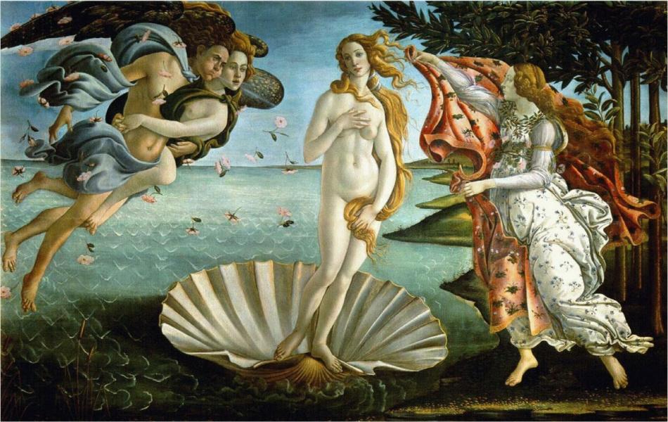 Сандро Боттичелли Рождение Венеры 1482—1486 гг. Уффици, Флоренция.