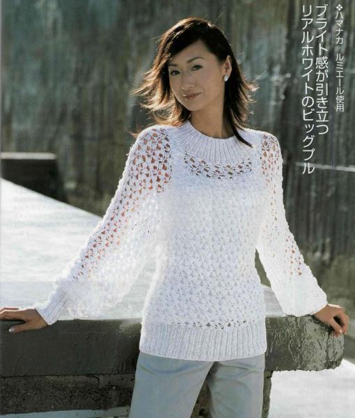 30c1a8c187f Белый ажурный пуловер спицы+крючок.