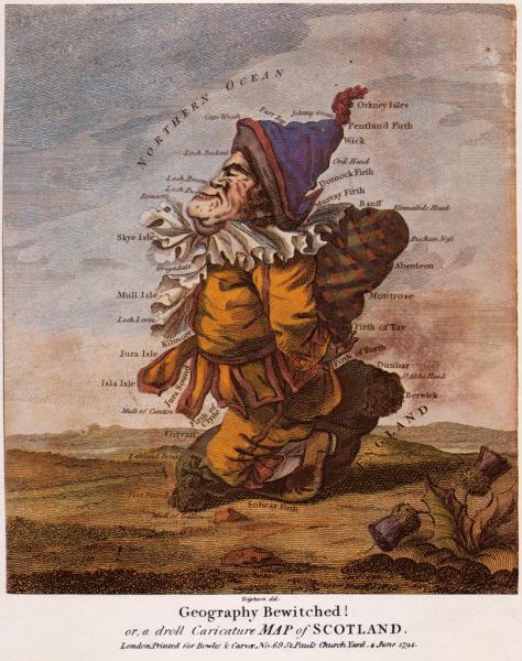 """""""Заколдованная география или забавная карикатурная карта Ирландии"""", автор Robert Dighton, опубликована в Лондоне в 1793 году"""