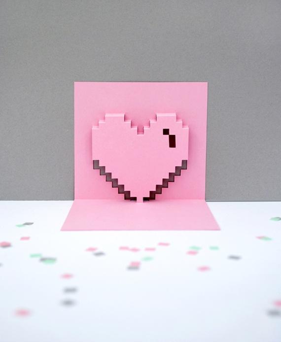 Цветами, как сделать 3д сердце открытку