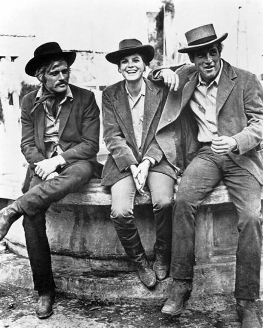 """Роберт Редфорд, Кэтрин Росс и Пол Ньюман на съемках фильма """"Буч Кэссиди и Сандэнс Кид"""", 1969 год"""