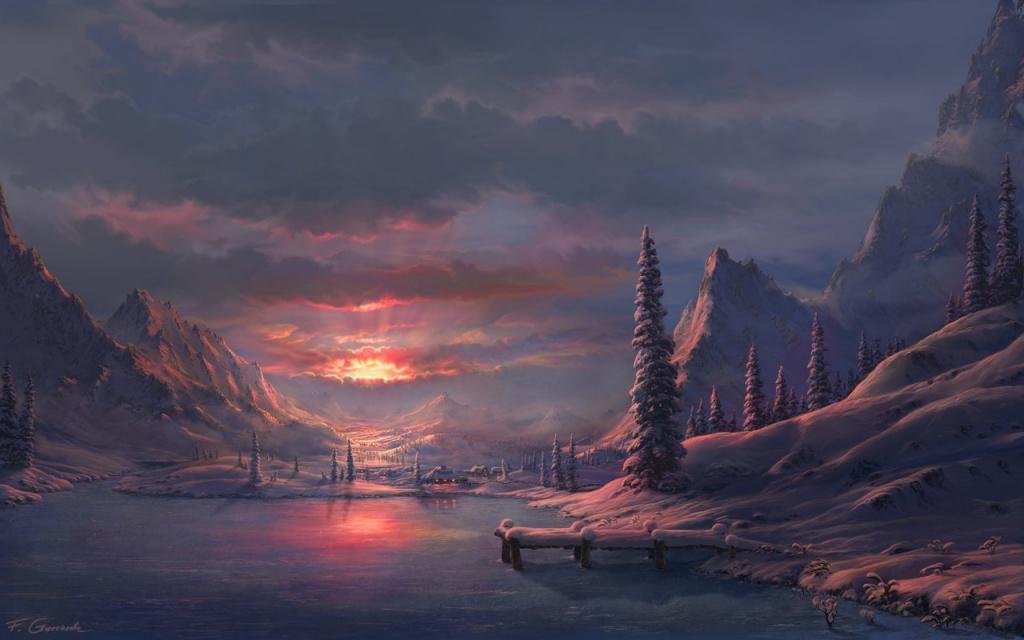 Зимний утренний морозный пейзаж.