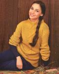 Жёлтый пуловер с полосой из ромбов. Вязание крючком