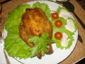 Французская кухня. Цыплята в сухарях со сливочно-коньячным соусом