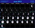 Фазы Луны на июнь 2013 года, в графике
