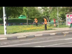 Вот так косят траву в Москве)