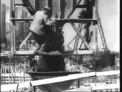 Строительство Горьковской ГЭС на Волге. 1954 год.