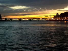 рассвет над Биржевым мостом