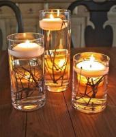 Вода, ветки, свечи - простой и красивый подсвечник готов