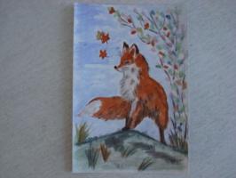 Рыжий Лис.  акварель  (открытка)