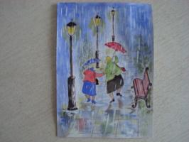 Бегущие от дождя...  акварель  (открытка)