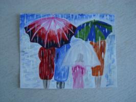 Под музыку дождя.  акварель