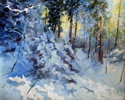 в заснеженном лесу