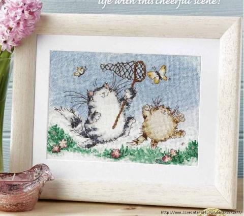Схемы для вышивки крестом мотива с веселыми котиками