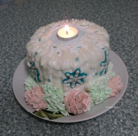 """Торт """"Новогодняя свеча"""". Поздравляю всех сайтеров с Новым Годом!!!!!!!!!!!"""