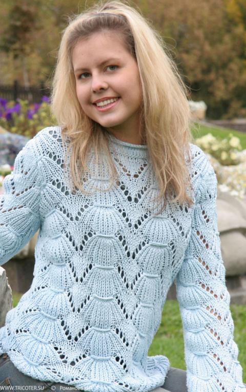 Оригинальный свитер спицами