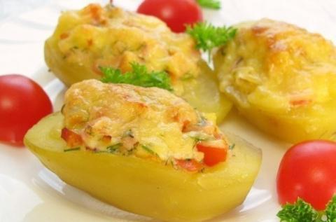 Фаршированный картофель с хрустящей сырной корочкой