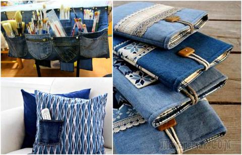 10 стильных и полезных в быту вещей, которые можно легко сделать из старых джинсов