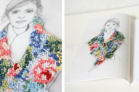Вышитые иллюстрации Izziyana Suhaimi
