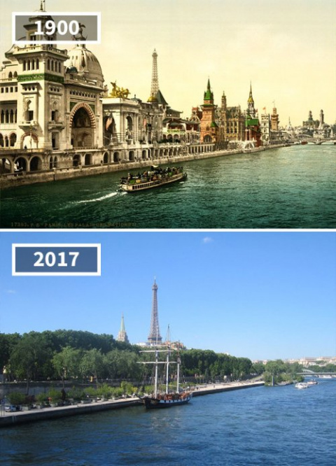 """Фотографии """"тогда и сейчас"""", показывающие, насколько мир изменился со временем"""