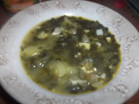 Суп со щавлем ( зеленый борщ)