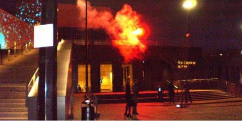 """""""Ельцин, гори в аду!"""": нацболы провели акцию у екатеринбургского Ельцин-центра"""