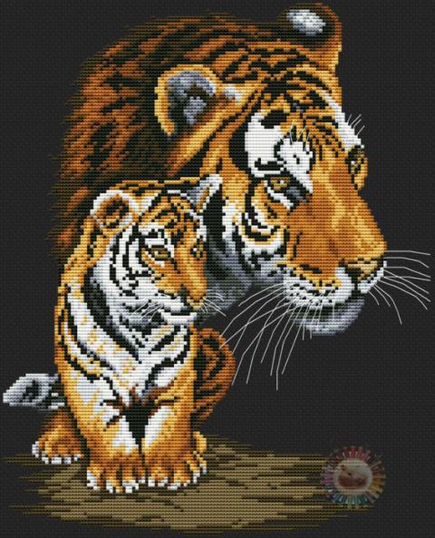 Семейство тигров. Схемы вышивки