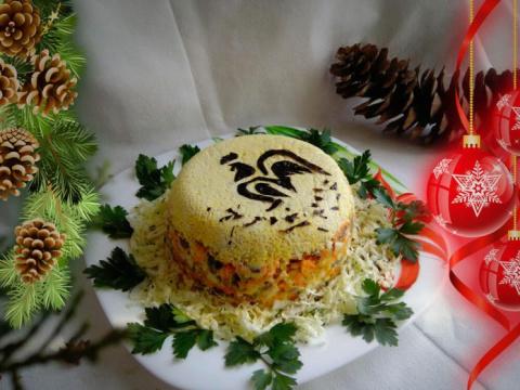 Салат с куриными желудками «Петушок»
