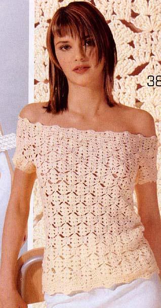 Блуза крючком с открытыми плечами