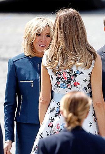 Модная дуэль первых леди — наряды Меланьи Трамп и Бриджит Макрон в Париже