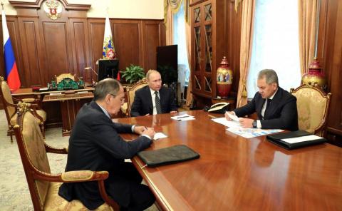 Встреча с Министром обороны Сергеем Шойгу и Министром иностранных дел Сергеем Лавровым