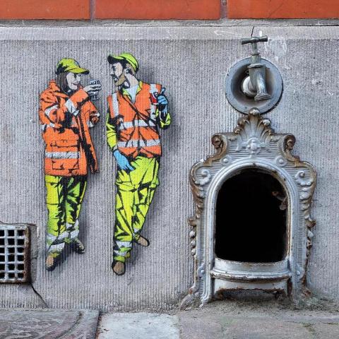 Жизнь городских работников в стрит-арте Jaune