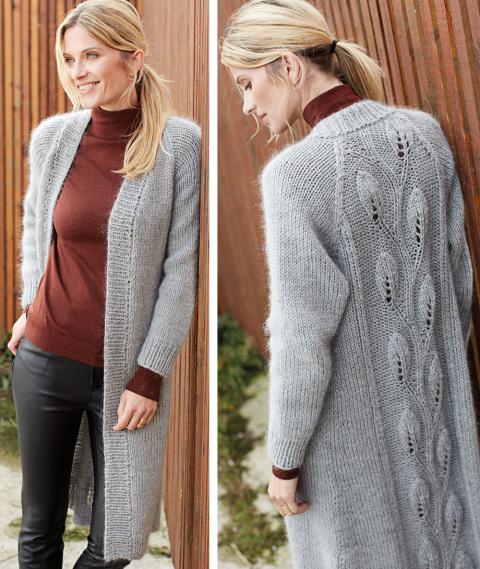 Пальто с узором Листочки спицами