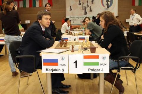 Кубок Мира ФИДЕ по шахматам, Ханты-Мансийск, 2011, партия Полгар - Карякин