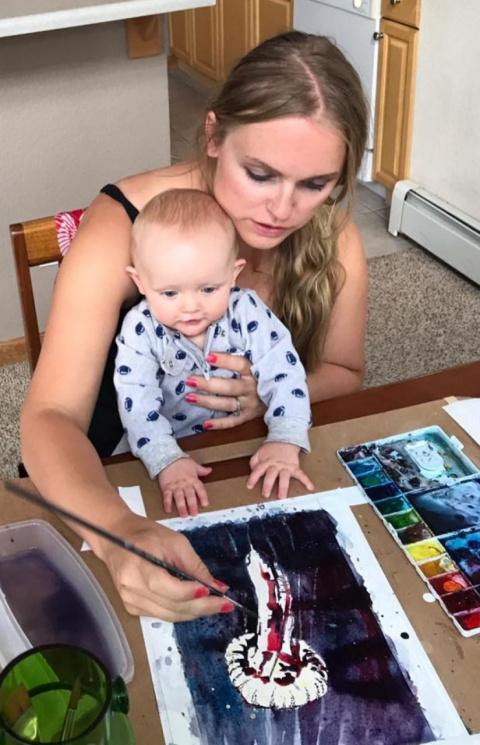 Девушка в декрете рисует прекрасные картины акварелью. От них невозможно оторвать глаз!