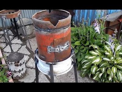 Печка для казана из газового баллона