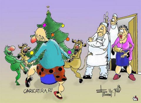 Карикатуры про Новый год
