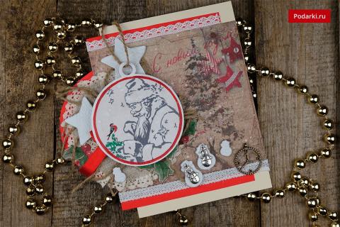 Новогодняя открытка сДедом Морозом