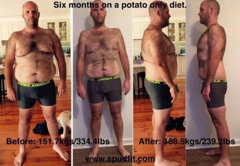Мужчина целый год питался только картофелем и результаты этого впечатляют