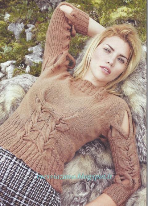 Пуловер с оригинальными косами из верблюжьей шерсти