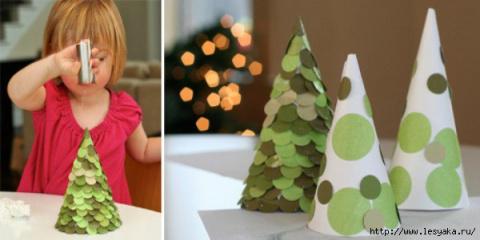 Новогодние поделки с детьми: елочки из бумаги своими руками