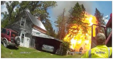 Мощный взрыв баллона с пропаном во время пожара в США