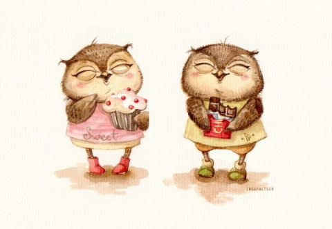 Трогательные совы от иллюстратора Инги Пальцер